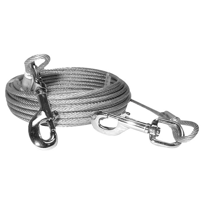Dog Tie-Out Cable - Large and X-Large Size Dogs - 30'