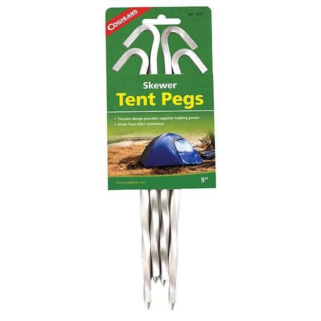 "Piquets de tente en aluminium, brochette, 9"", paquet de 4"