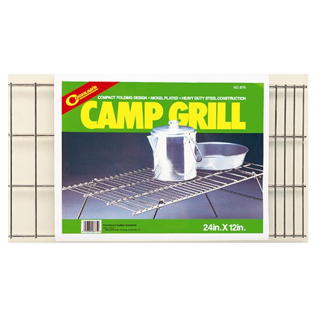 """Gril de camping pliant, acier nickelé, 12"""" x 24"""""""