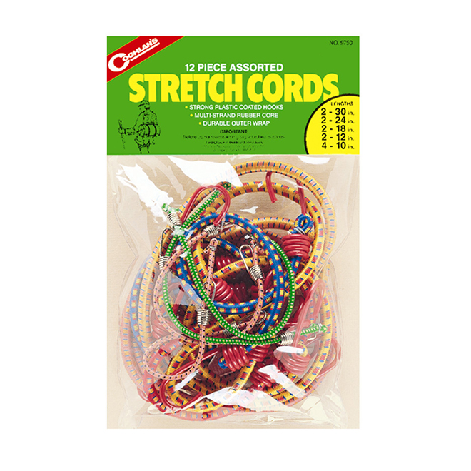 Assorted Stretch Cords - 12 Pack