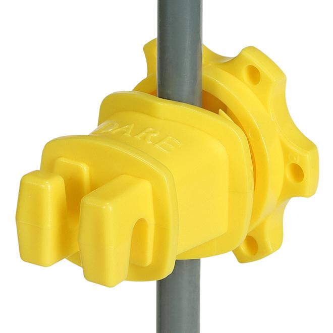 Western Screw-Tight Insulators - Round Post - Yellow - 25/Pk
