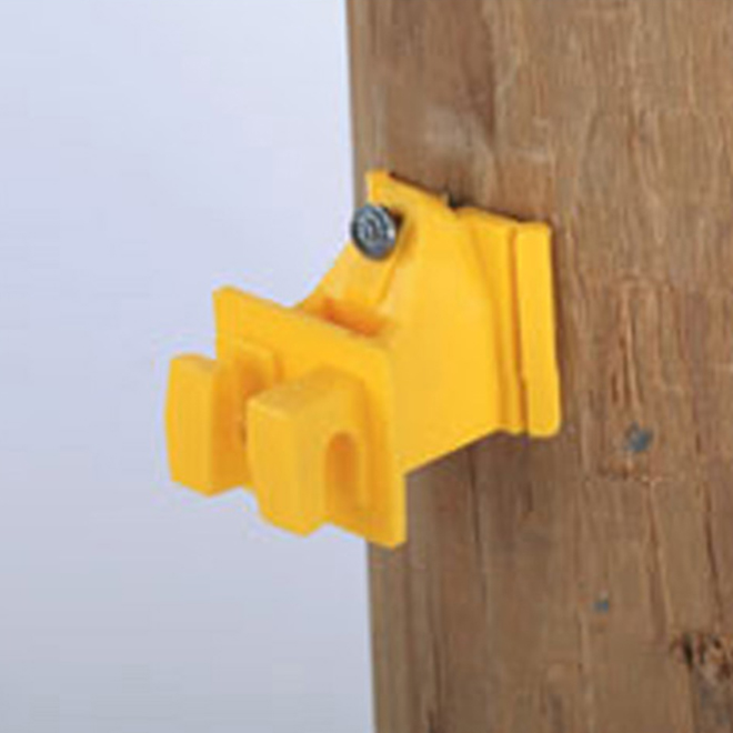 Snug Electric Fence Insulators - Wood Post - Yellow - 25/Pk