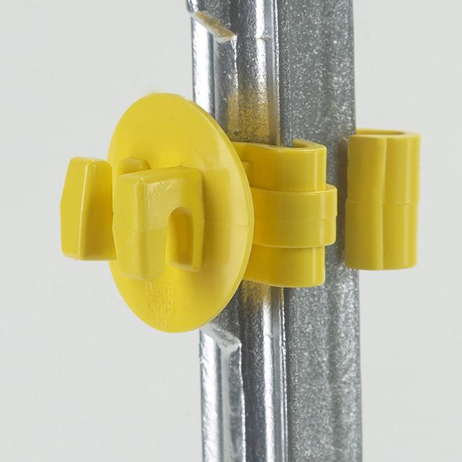 Isolateurs de clôture électrique ajustés, poteau en T, jaune