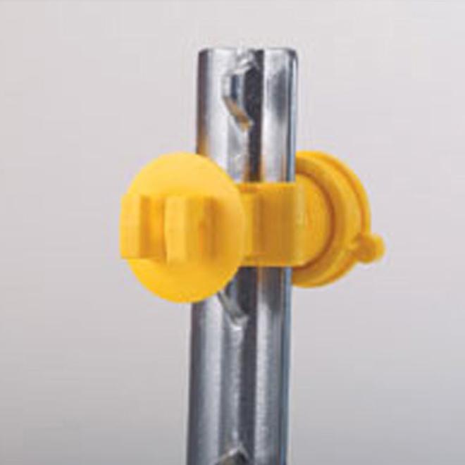 Isolateurs vissés serrés Western, poteau en T, jaune, 25/pq