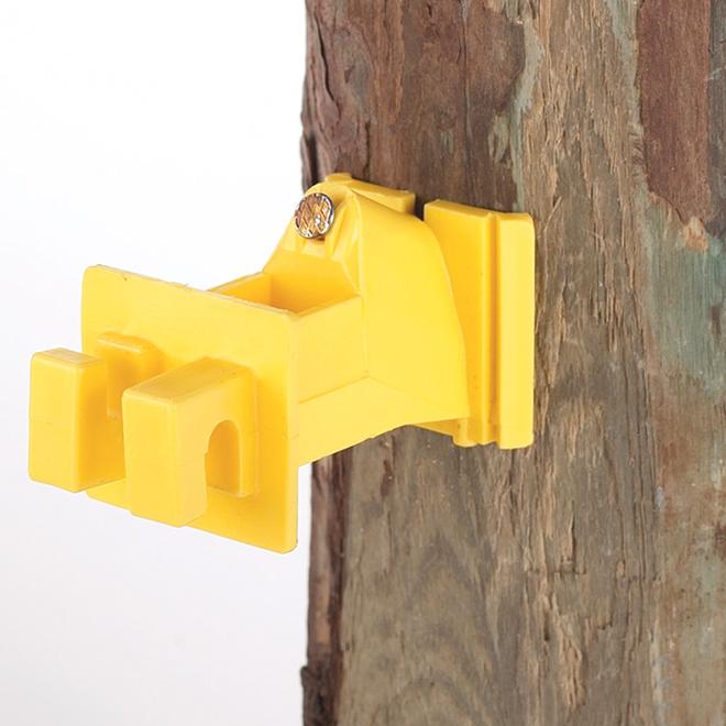 Snug Electric Fence Insulators - Wood Post - Yellow - 25/Pk