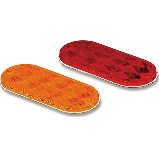 Oval Reflex Reflector - Red