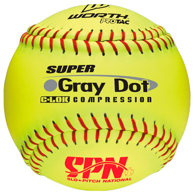 Slo Pitch Softball - Gray Dot - Yellow/Red - 12""