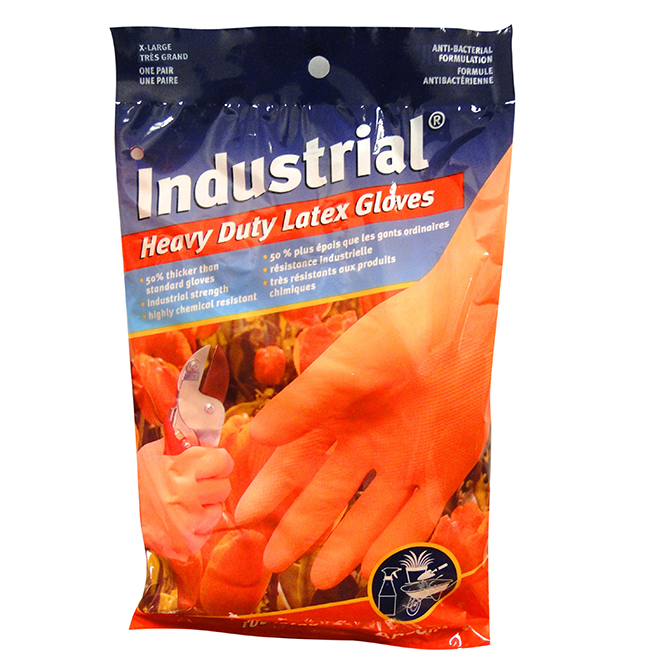 Industrial Strength Latex Gloves - X-Large - Orange