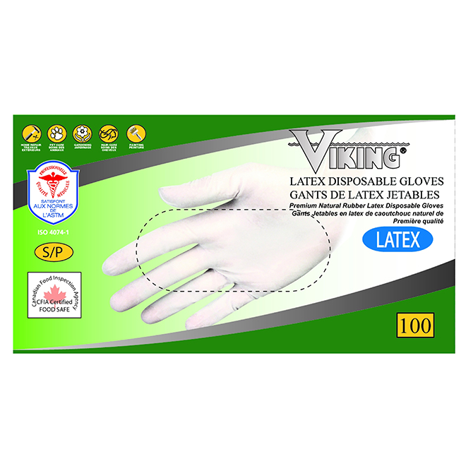 Disposable Latex Gloves - Medium - White