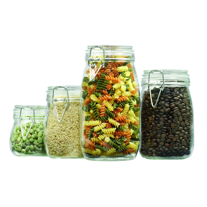 Set of 4 Canisters - Glass