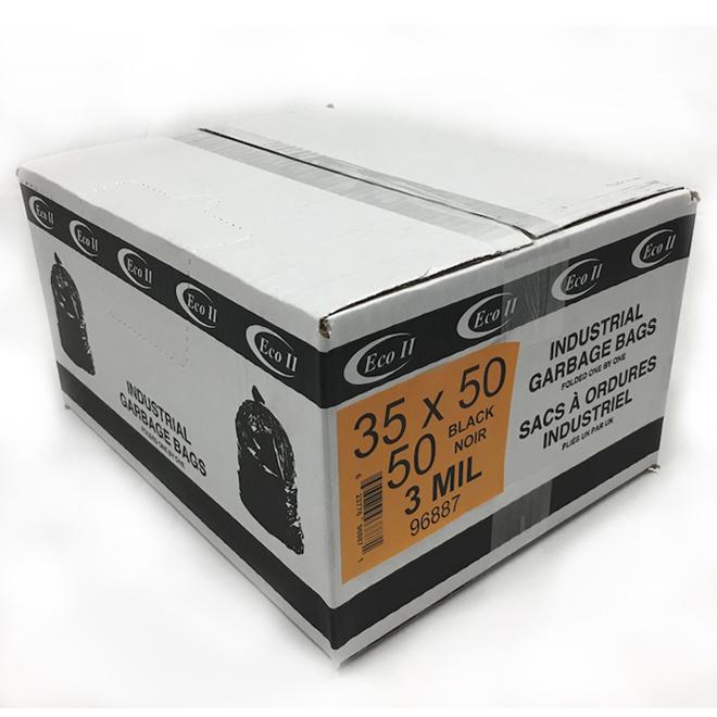 Sac à ordures industriel, 35 x 50, noir, paquet de 50