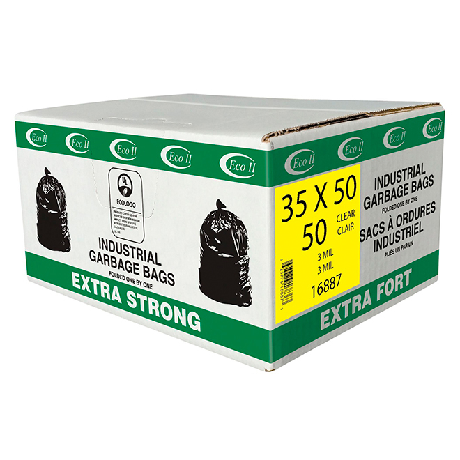 6b07cdc2347 ECO II Industrial Garbage Bag - 35 x 50 - Clear - 50-Pack 16887-5