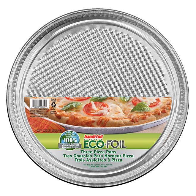 "Pizza Pans - Pack of 3 - 12 3/8"" x 1/2"" - Aluminum"