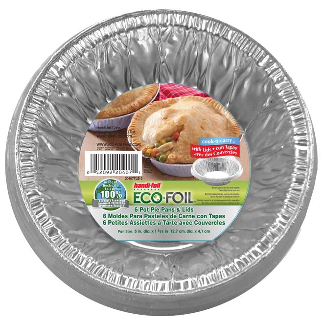 """Petites assiettes à tartes, paquet de 6, 5"""" x 1 5/8"""", aluminium"""