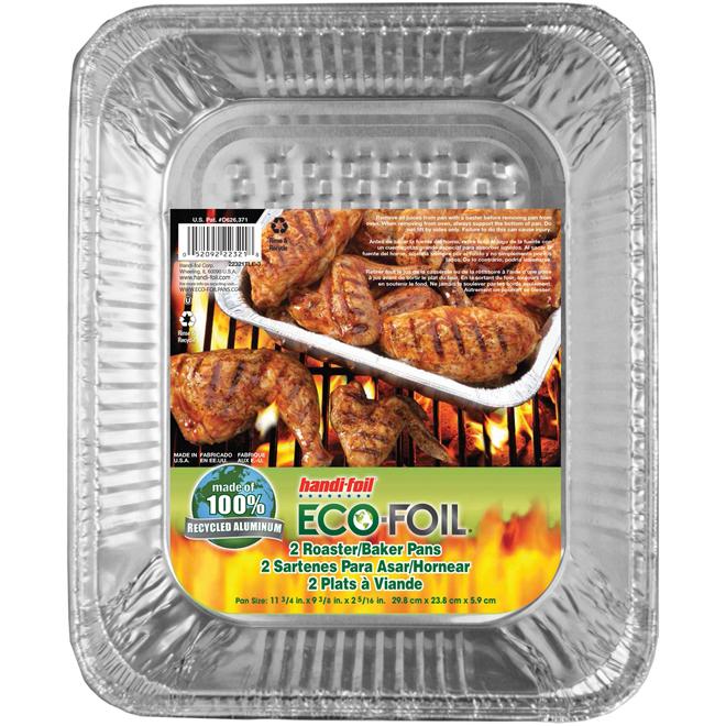 "Roast/Bake Pans - Pack of 2 - 11 3/4"" x 9 3/8"" x 2 1/2"" - Aluminum"