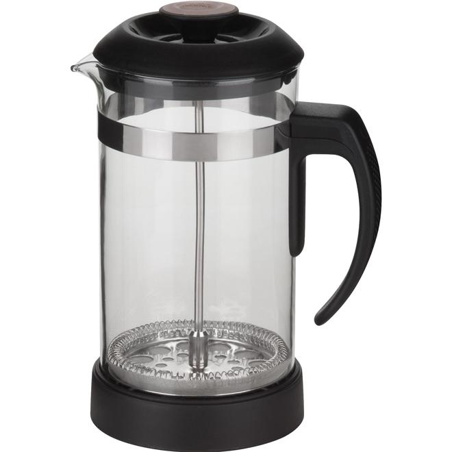 Cafetière à piston en verre, noir, 1 L