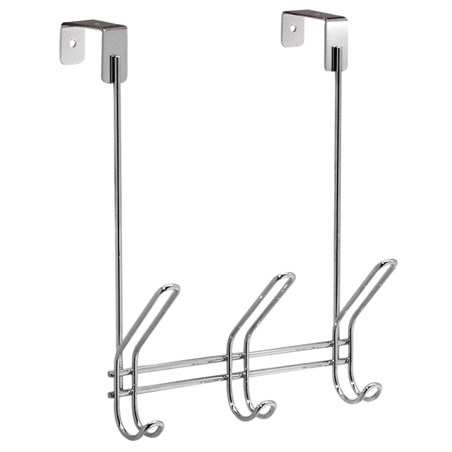 Over-The-Door Rack with 3 Hooks - Chrome