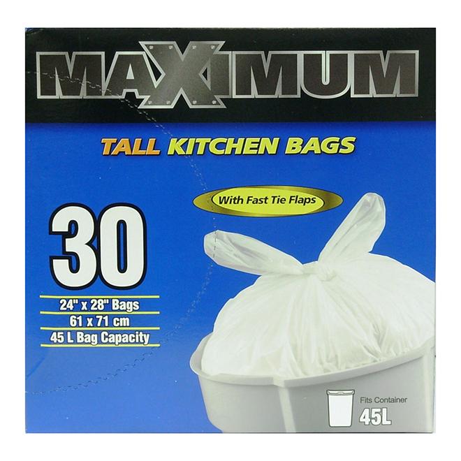 Grands sacs à ordures, paquet de 30, 45 l
