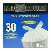 Tall Garbage Bags - Pack of 30 - 45 L