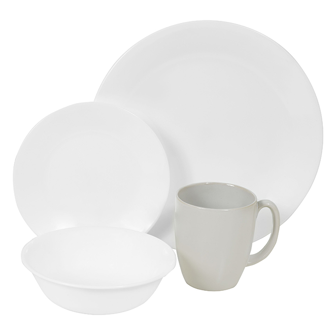 White Winter Frost Dinnerware Set - 16 Pieces
