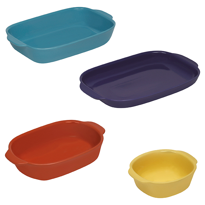 Ceramic Casserole Dish Set - Vibrant Colors - 4-Pack