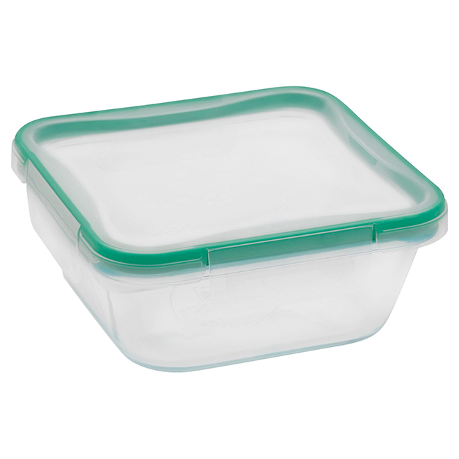 Plat de rangement d'aliments rectangulaire en verre, 4 t.