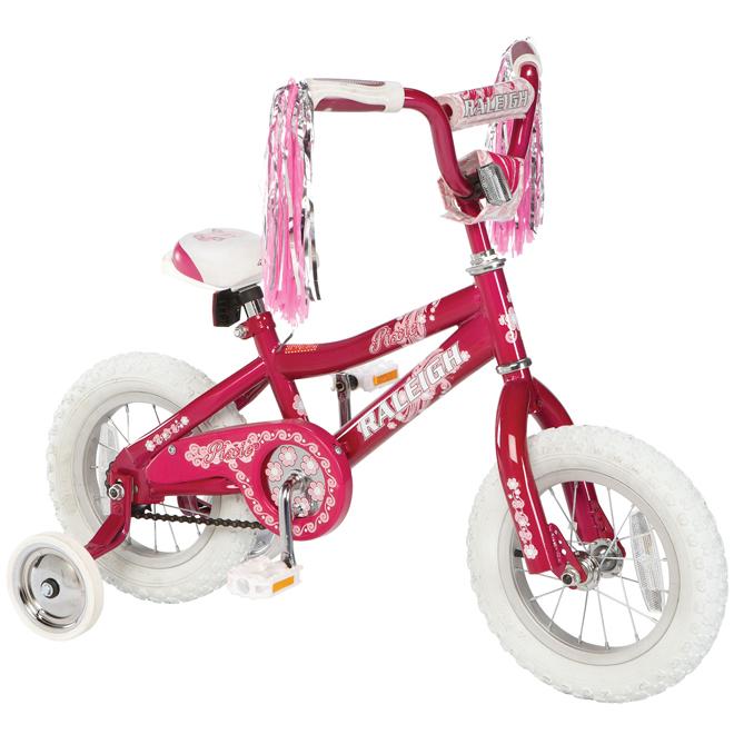 "Girl's Bike with Training Wheels - 12"""