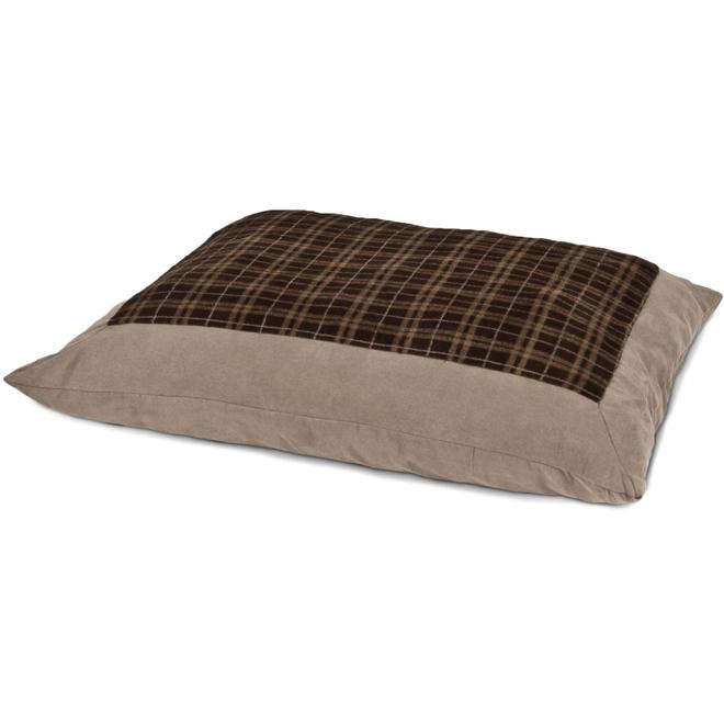 Lit pour animaux en forme d'oreiller, suède, 27'' x 36''
