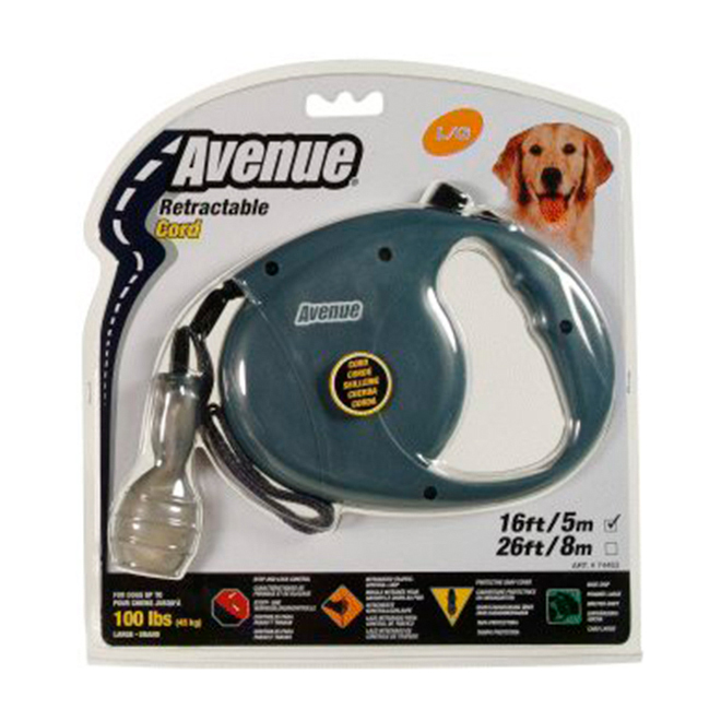 Retractacle Dog Corded Leash - Grey - 16''