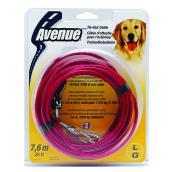 Câble d'attache pour gros chien, rouge, 25'