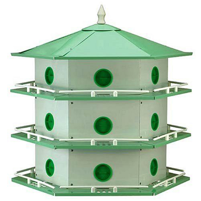 Purple Martin Birdhouse - 18 Rooms -Aluminum - White/Green