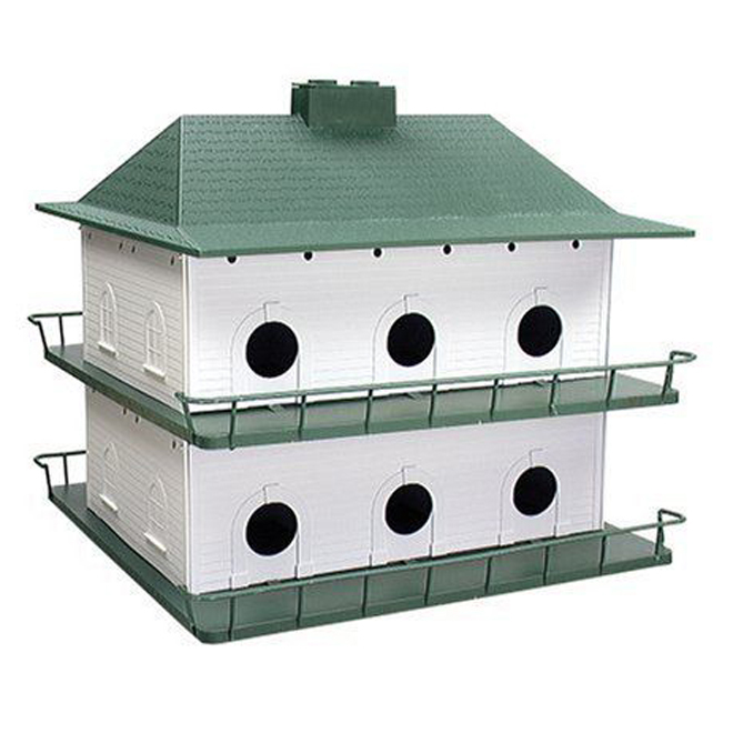 Purple Martin Birdhouse - 12 Rooms -Plastic - White/Green