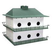 Nichoir à hirondelle noire, 12 chambres, plastique, blanc/vert