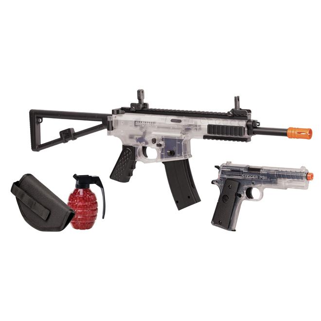 Airsoft Rifle and Pistol Air Gun Kit - Commando - 4 Pieces