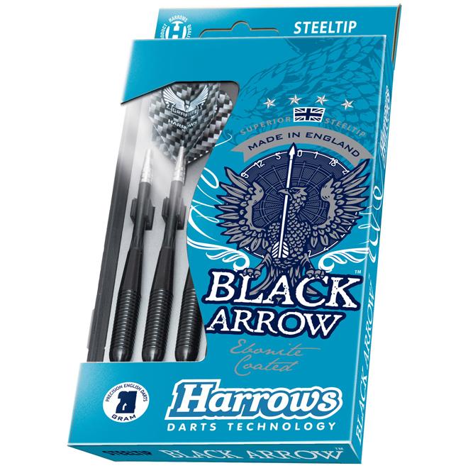 Fléchettes avec boîtier, Black Arrow, pointe en acier, 6/pq