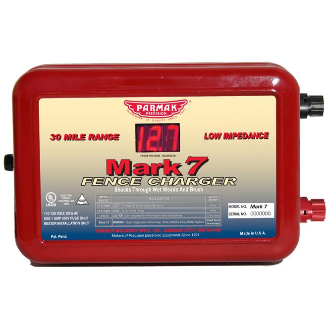 Electric Fence Charger - Mark 7 - 48 km Range - 110-120 V