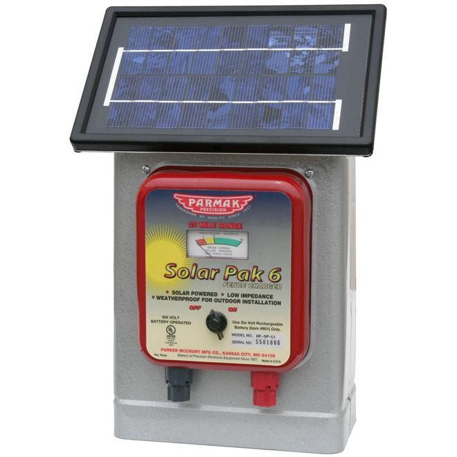 Solar Electric Fence Charger - Pak 6 - 40 km Range - 6 V