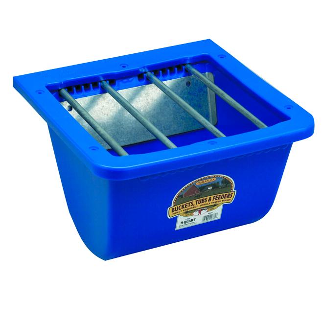 Mangeoire à poulain, plastique, 2,25 gallons, bleue