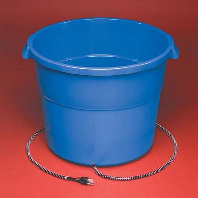 Seau chauffant en plastique, 16 gallons, 260 W