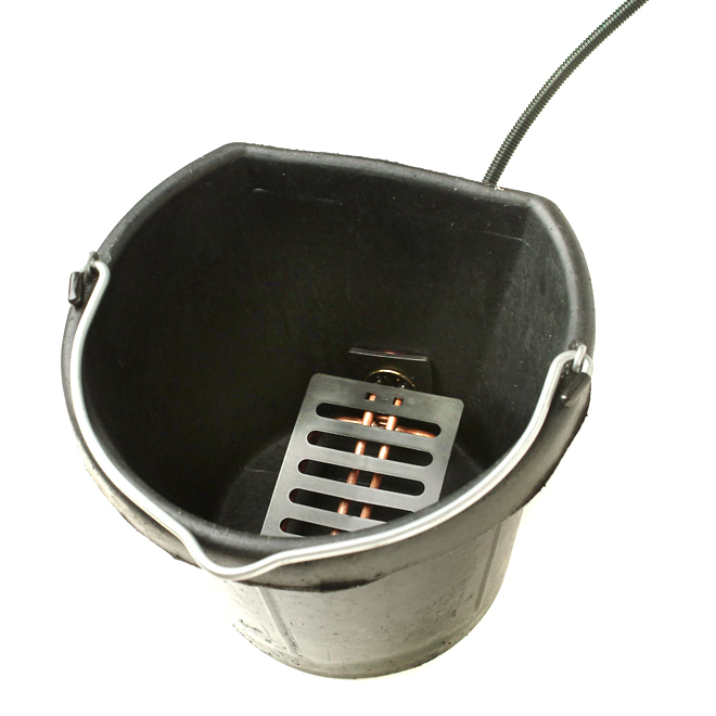 Rubber Heated Bucket - Flat Back - 5 Gallons - 150 W