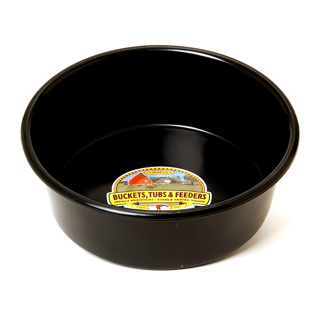 Utility Pan - Plastic - 1.25 Gallons - Round - Black