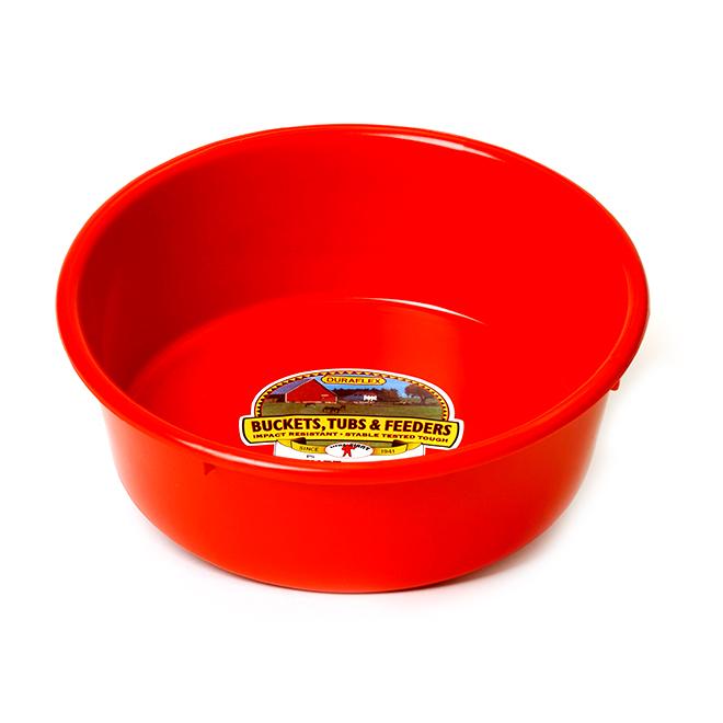 Bac tout usage, plastique, 1,25 gallon, rond, rouge