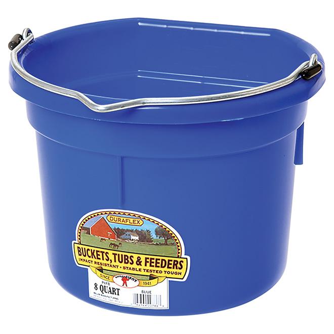 Flat-Back Bucket - Plastic - 2 Gallons - Blue