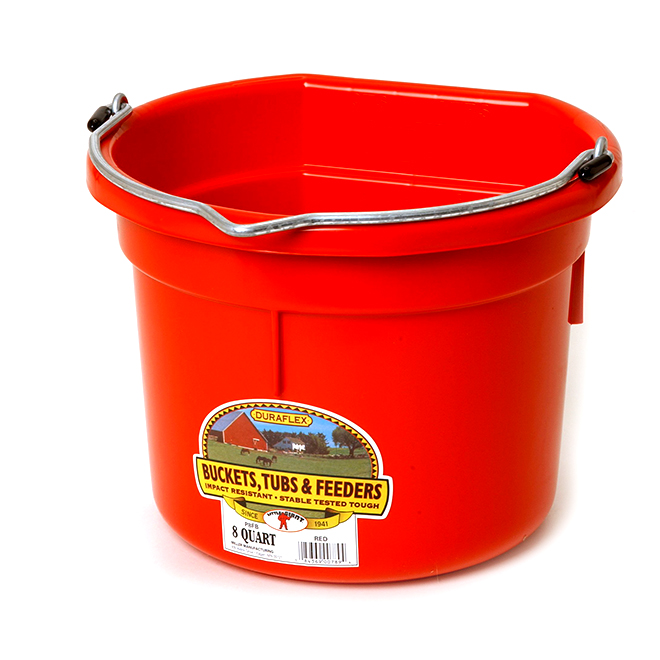 Flat-Back Bucket - Plastic - 2 Gallons - Red