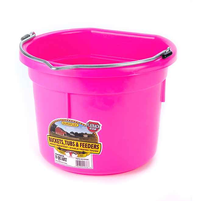 Flat-Back Bucket - Plastic - 2 Gallons - Hot Pink