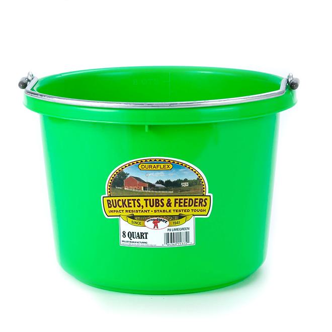 Seau à dos plat, plastique, 2 gallons, vert lime