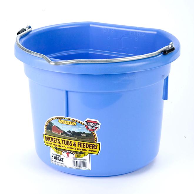Flat-Back Bucket - Plastic - 2 Gallons - Berry Blue
