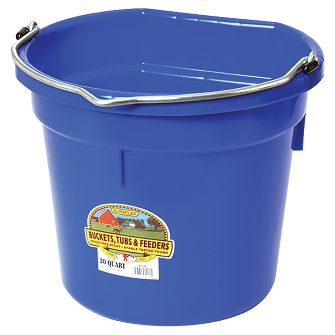 Flat-Back Bucket - PE Resin - 5 Gallons - Blue