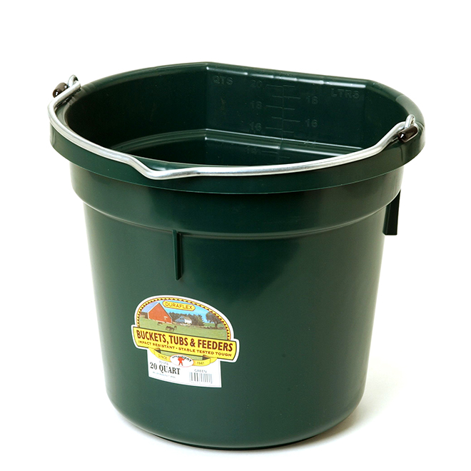 Flat-Back Bucket - Plastic - 5 Gallons - Green