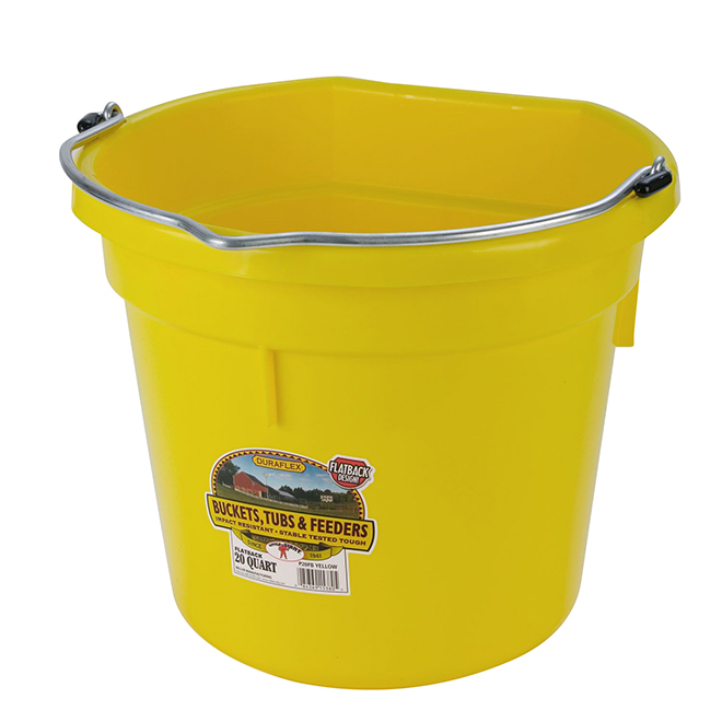 Flat-Back Bucket - Plastic - 5 Gallons - Yellow